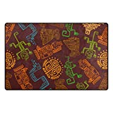 YZGO Ethnic Ancient Mexican Maya Letter - Large Area Rugs Non-Slip Floor Mat Resting Area Doormats