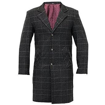 Manteau Homme Trench Coat Mélange de Laine Longue Veste à Carreau Tweed Sur  Manteau Doublé  Amazon.fr  Vêtements et accessoires e95d1a18e35d
