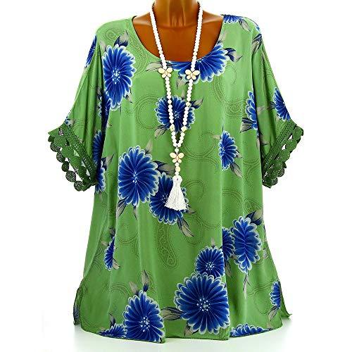 Moiti Femmes Les Manche Et Floraux Neck Chemise Motifs O Lace Taille De Tops Lolittas La La Over des Pull Chemisier Green q0C8O5