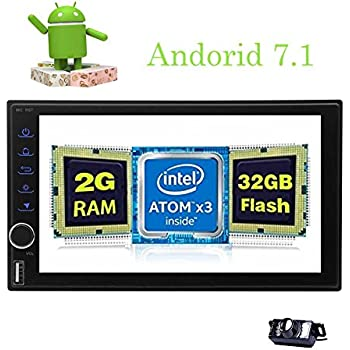 Backup Camera Included - Latest Android 7.1 Double Din Car Stereo Radio - Octa Core in Dash GPS Navigation - Support ...