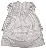 Elegant Baby Girl Christening Baptism Dress - Ivory or White (1-11 Months, White)