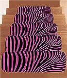 Non-Slip Carpets Stair Treads,Zebra Print,Zebra Pattern Print Wild Animal Skin Style Decorative Stylized Illustration,Fuchsia Black,(Set of 5) 8.6''x27.5''