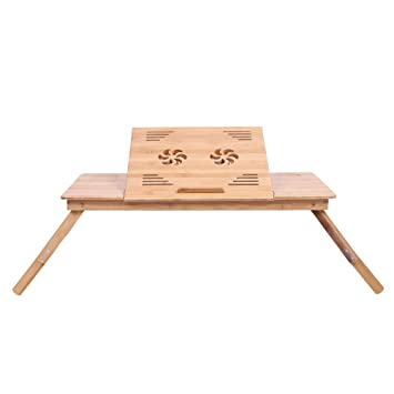 KYD Mesa para Ordenador Portátil de Bambú Plegable Escritorio Altura Ajustable Cama Mesa - Bandeja Mesa - Mesa ...