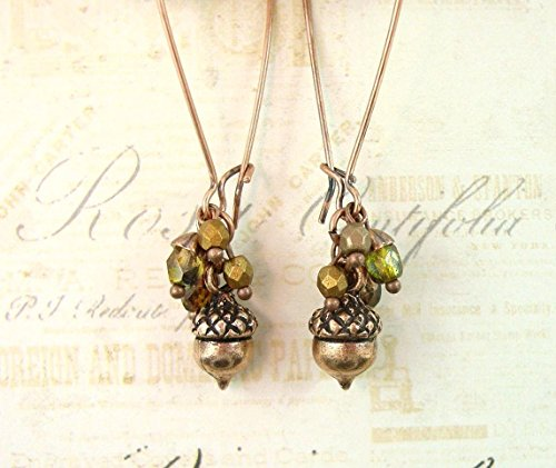 Plated Cluster Finding (Autumn Acorn Cluster Earrings in Antique Copper with Iridescent Green Czech Glass Beads)