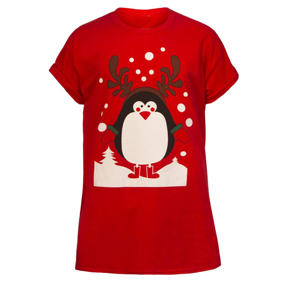 Winsummer Adult Unisex Short Sleeve Christmas T-Shirt Soft & Comfortable Lovers Couple Tshirt