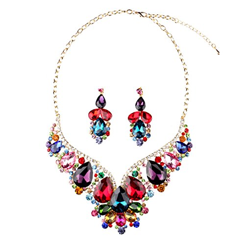 Hamer Collar Costume Jewelry Crystal Choker Pendant Statement Chain Charm Necklace and Earrings Sets Women (3#) ()