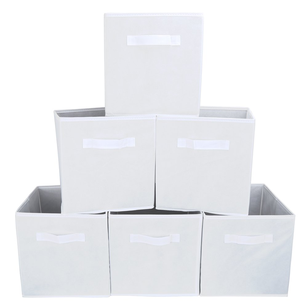 Set of 6 Foldable Fabric Basket Bin, EZOWare Collapsible Storage Cube For Nursery, Office, Home Decoration, Shelf Cabinet, Cube Organizers - White 885157836081