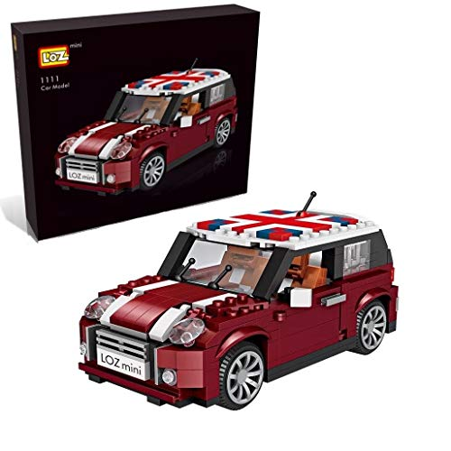 LOZ inFUNity Mini Cooper Toy Car Model S Pure Burgundy 3-Door Hatch Building Blocks Model (492 Pieces), Gifts for Creator Expert Fans