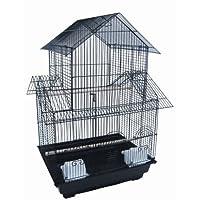 YML 18 pulgadas por 14 pulgadas de pagoda pequeña jaula de pájaros superior, negro