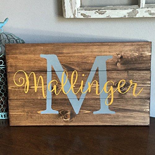 10x18 Family Name Sign Wedding Gift, Monogram Plaque, Anniversary Housewarming Present, Decorative Plaque Wall Decor, Keepsake mom, Christmas gift idea (Monogram Sawtooth)