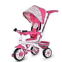 Costzon 4-in-1 Kids Tricycle Steer Stroller Toy Bike w/Canopy Basket