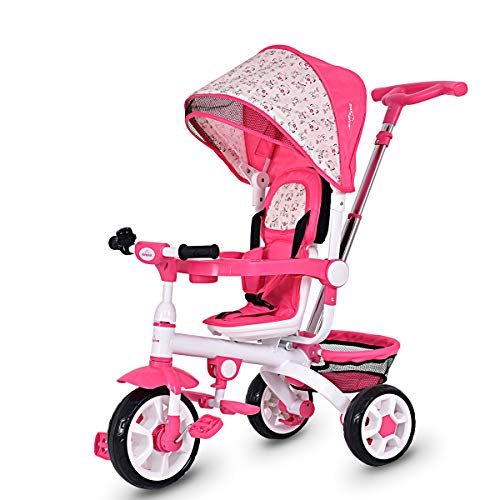 Costzon 4 in 1 Kids Tricycle Steer Stroller Toy Bike w/Canopy, Safety Seat, Storage Basket, Foot Pedals, for Children Age 10 Months to 5 Years Old (Pink) (Girls Radio Flyer Tricycle)