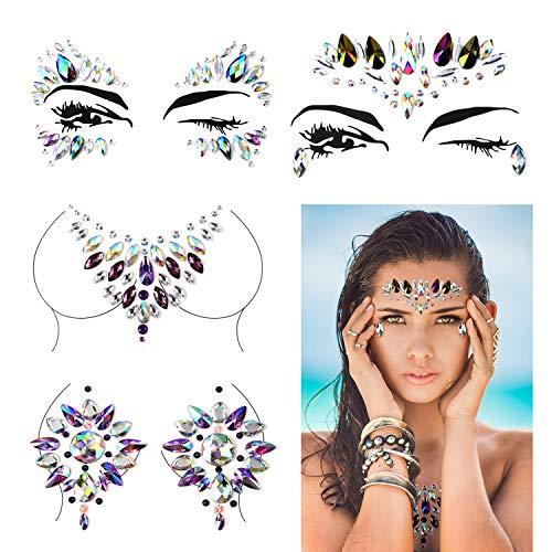 5796e8ecf Konsait Face & Breast Rhinestones Sticker Gem Face Jewels Rhinestone Bindis  Crystal Tears Gem Temporary Tattoo