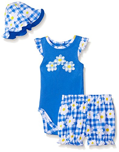 Gerber Baby Three-Piece Bodysuit, Bloomer and Tulip Hat Set, Daisies, 0-3 Months