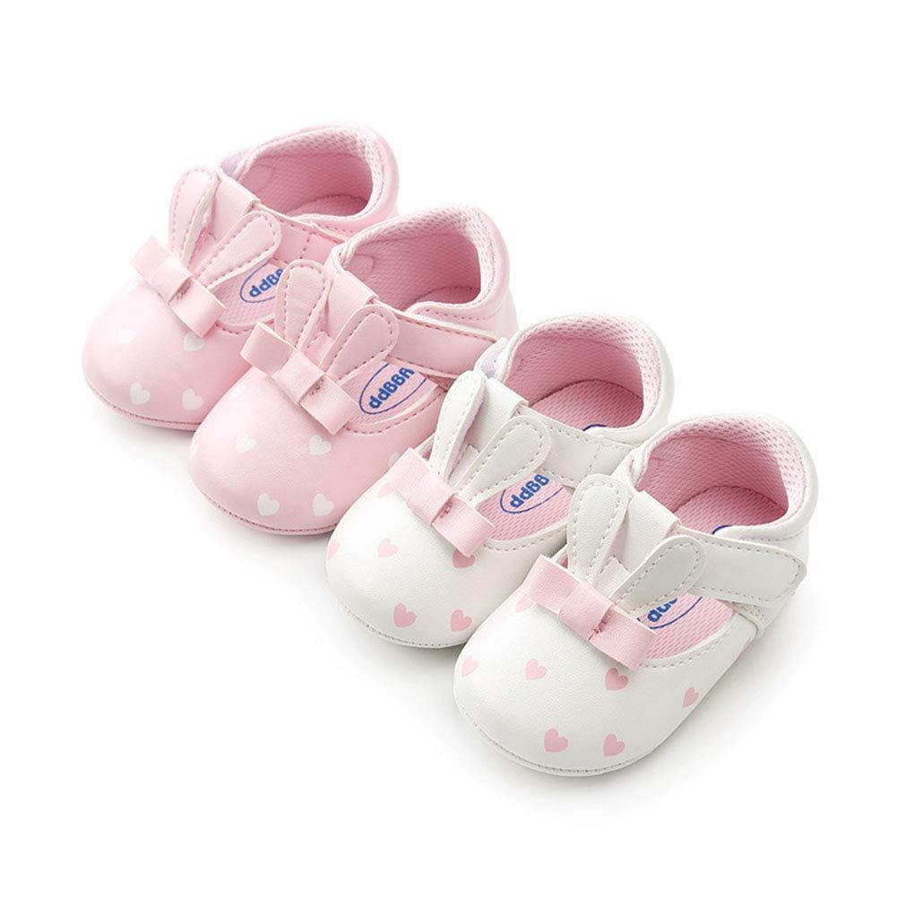 Alamana Fashion Rabbit Faux Leather Infant Baby Girl Soft Sole Prewalker Toddler Shoes White 11cm