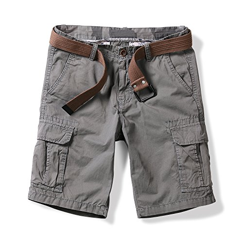 Solid Short Slim Fashion (OCHENTA Men's Lightweight Multi Pocket Casual Cargo Shorts Solid Gray US 38 - Tag 40)
