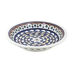 Blue Rose Polish Pottery Evergreen Soup Plate