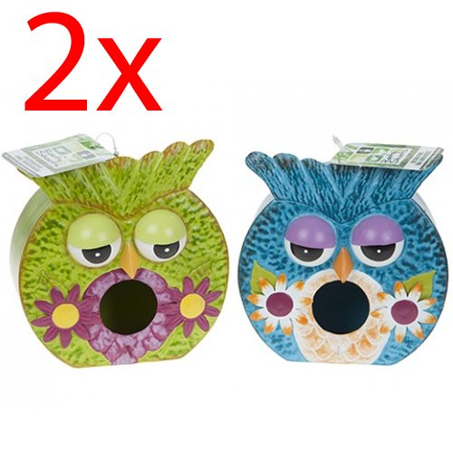 SET OF 2 OWL BIRD HOUSE GARDEN HANGING NOVELTY DECOR NESTING HOME GIFT CUTE NEW PMS