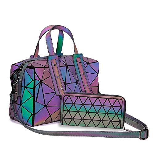 Harlermoon Geometric handbag Luminous women bag Holographich Purses Flash Reflactive purse and handbag Tote for Women (Boston handbag with Purse)