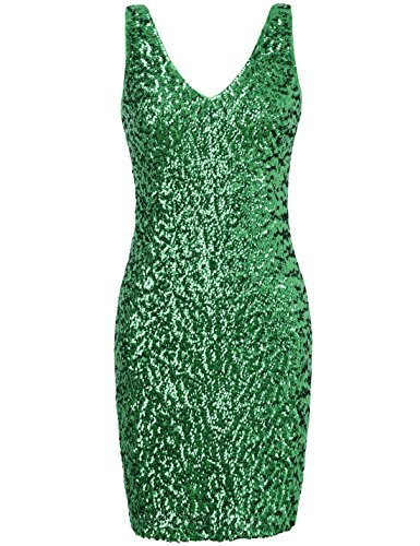 PrettyGuide Women Sexy Deep V Neck Sequin Glitter Bodycon Stretchy Mini Party Dress M Green ()