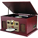 Sylvania SRCD838 5-in-1 Nostalgic Turntable with CD, Cassette, Radio, Aux-In, Brown