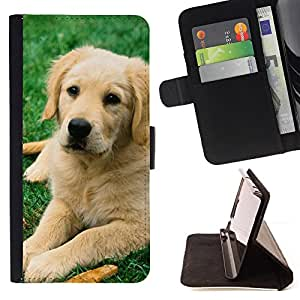 For Samsung Galaxy S4 Mini i9190 Labrador Retriever Golden Dog Puppy Style PU Leather Case Wallet Flip Stand Flap Closure Cover