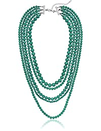 """Blue Turquoise Stone 5-Row Multi-Beaded Strand Necklace, 32""""+3"""" Extender"""