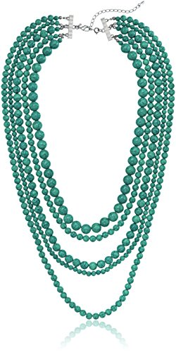 Blue Turquoise Stone 5-Row Multi-Beaded Strand Necklace, 32