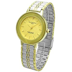 Izax Valentino watch round type 1P natural diamond cut glass metal watch Gold IVG-200-1 Men's