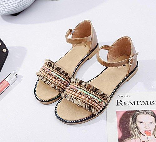 RuiXia Jiping untere Schuhe Perle ein Wortart B¨¹gel Schuhe offene Spitze Sandalen Frauenquasten Khaki