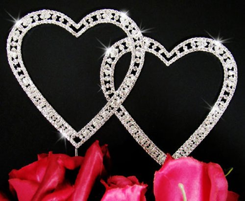 - Double Heart Crystal Wedding Cake Topper Vintage Style