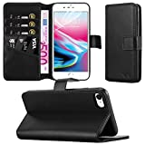 Apple iPhone 8 Case - Combines 3 Card Design and Magnetic Closing clasp Card Case Cover Premium Leather with Screen Protector, Microfibre Polishing Cloth (Black)