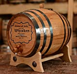 Personalized - Custom American White Oak Aging Barrel - Special Engraving 4 (2 Liters, Black Hoops)