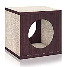 Way Basics Cat Scratcher Cube Scratching Post (Tool-Free Assembly and Uniquely Crafted from Sustainable Non Toxic zBoard Paperboard) Espresso