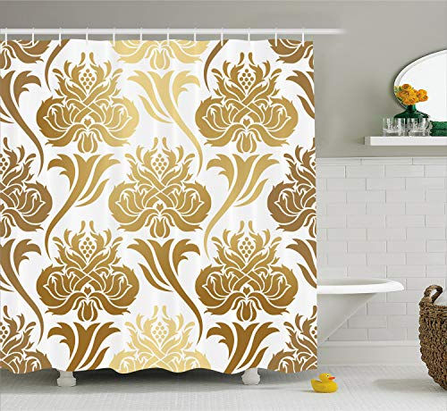Ambesonne Damask Shower Curtain, Ombre Abstract Image with Floral East Asian Inspired Details Print, Fabric Bathroom Decor Set with Hooks, 70 Inches, Caramel Yellow