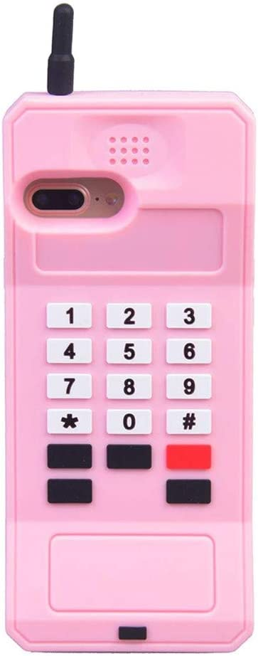 "iPhone 8 Case Cute iPhone 7 Case Cute iPhone 6S Case iPhone 6 Case Stand 3D Cartoon Retro Cellular Phone Shaped Silicone Girls Women Cute Phone Cases iPhone 8 7 6S 6 4.7"" (Pink, iPhone 8/7/6S/6-4.7"")"