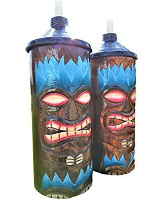 Custom Blue Flame Design Handcarved Wood Table Top Tiki Torches With Free Metal Cannisters Included!