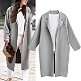 Gallity Women's Lapel Outerwear Loose Coat Trench Coat Long Cardigan Tops (M, Gray)