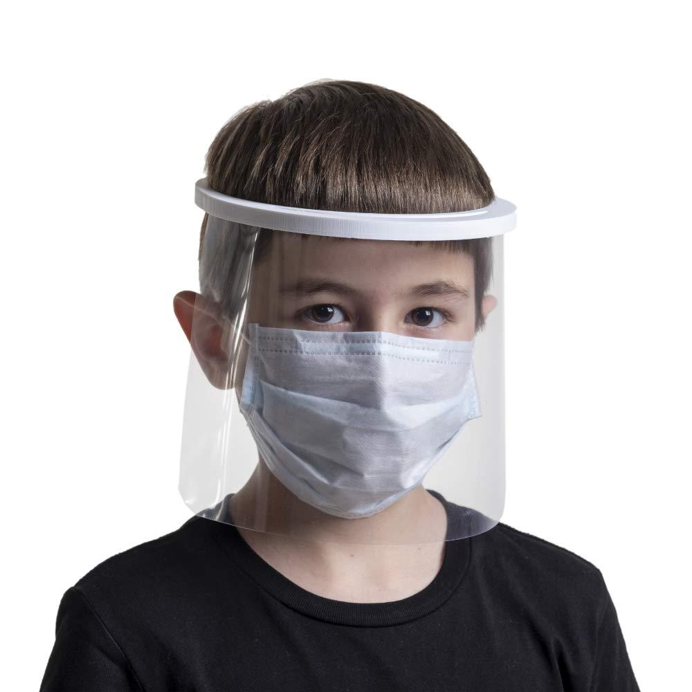 Pantalla protectora facial transparente, visera en forma de mascara para usos sanitarios gafas protectoras para evitar contaminación de los ojos a partir de salpicaduras (Niños)