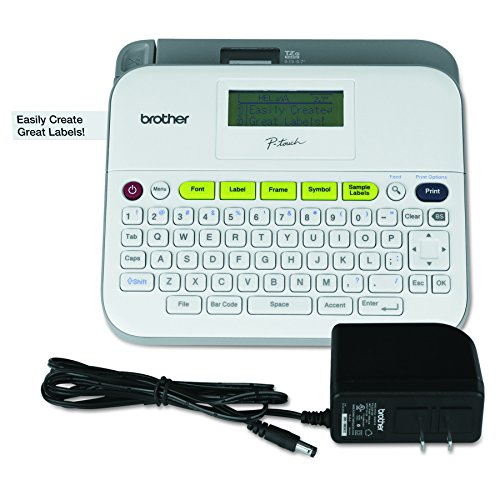 Brother P-touch Label Maker, Versatile Easy-to-Use Labeler, PTD400AD,  AC Adapter, QWERTY Keyboard, Multiple Line Labeling, White (Printer Cartridge Label Brother)