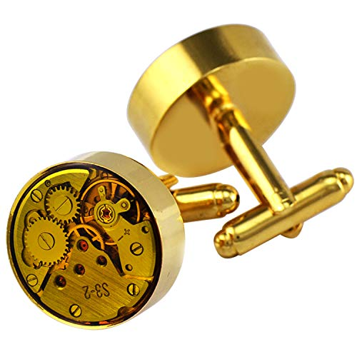 Pavaruni Original Cufflinks 50+Color Steam Punk Watch Movement Automatic Mechanical Vintage Novelty (Color1-Yellow Glass Gold)