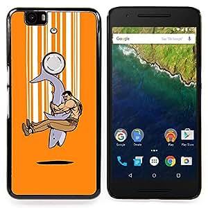 For Huawei Nexus 6P - Shark Strong Man Tough Art Hug Friendship /Modelo de la piel protectora de la cubierta del caso/ - Super Marley Shop -