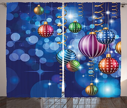 Christmas Decorations Curtains by Ambesonne, Happy New Year Themed Party Decorations with Swirling Ornaments and Balls Print, Living Room Bedroom Decor, 2 Panel Set, 108W X 84L Inches, Blue Gold