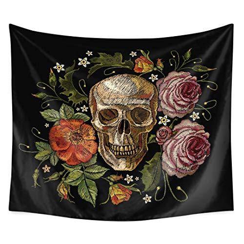QCWN Skulls Decor Tapestry Wall Tapestry Halloween Decor Flowers and Skull Design Skeleton Art Wall Hanging for Bedroom Living Room Dorm.Black Grey 78x59Inch\]()