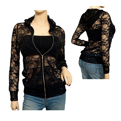 Plus Size Lace Zipper Front Hoodie Top Black, 3XL, 3X Plus