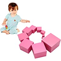 FnieYxiu Educational Toys, Montessori Pink Tower Wooden Cube Block Kids Educational Toy Children Gift