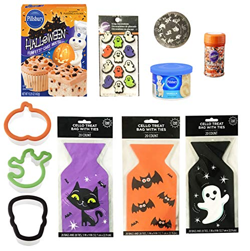 Halloween Baking and Treat Kits! Halloween Cupcake Mix, Halloween Cookie Cutters, Halloween Treat Bags - Halloween Party Supplies! (Ghastly Fun Halloween Baking Kit) -