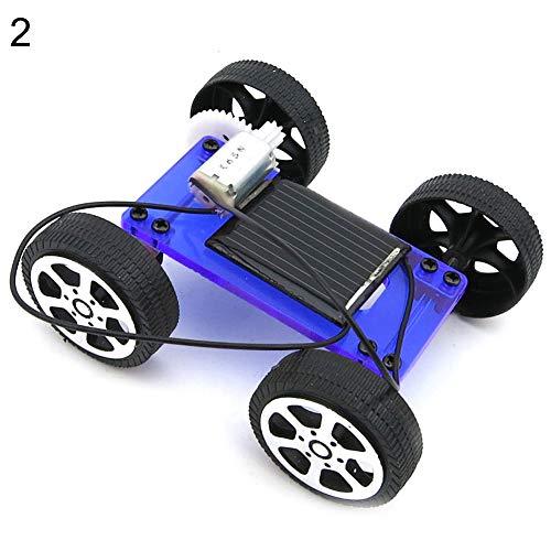 bromrefulgenc Science Experiment Intelligence Toy for Kids,Mini DIY Assembly Solar Panel Energy Car Vehicle Model Kids Educational Toy - Blue