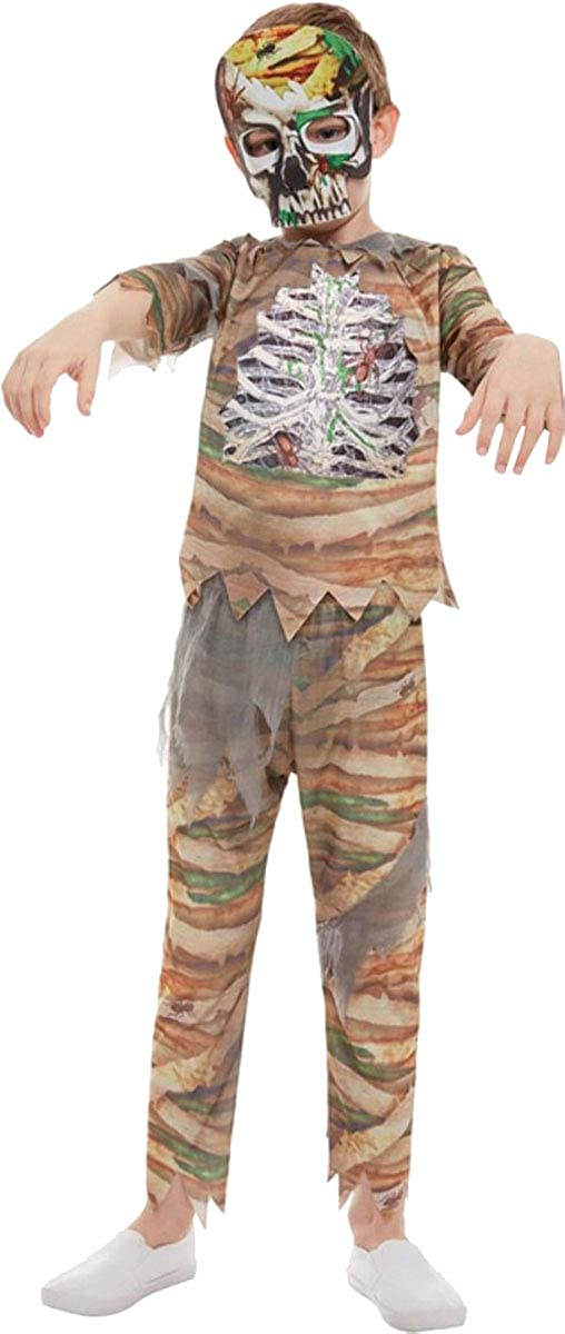 Cream with Top Trousers /& Mask Child Boys Girls Zombie Mummy Halloween Costume
