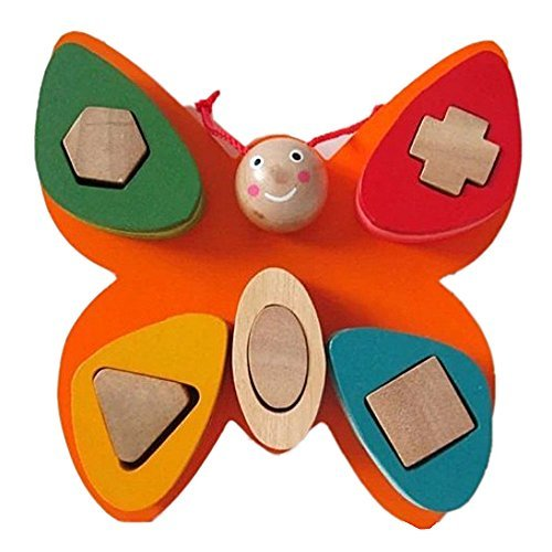 Eonkoo Cute Colorful Wooden Butterfly Educational Building Blocks Toys for for Toddler Brain Training,DIY Geometric Shape Puzzle Insect Toy Set for baby kids Best Gift